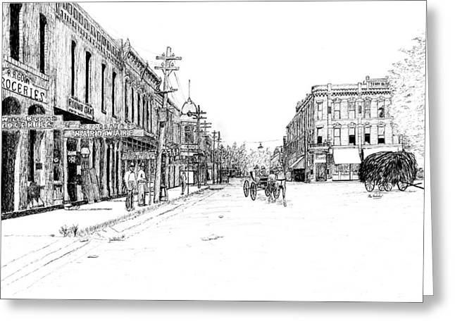 Hardware Drawings Greeting Cards - Bentonville Square 1914 Greeting Card by Ron Enderland
