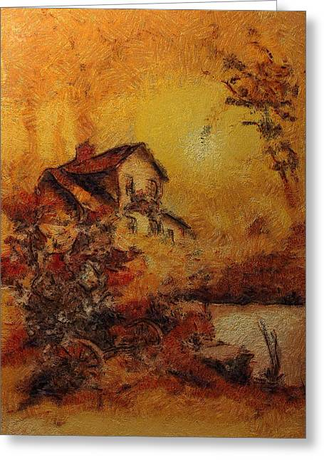 Van Gogh Style Greeting Cards - Beorns Home Greeting Card by Mario Carini