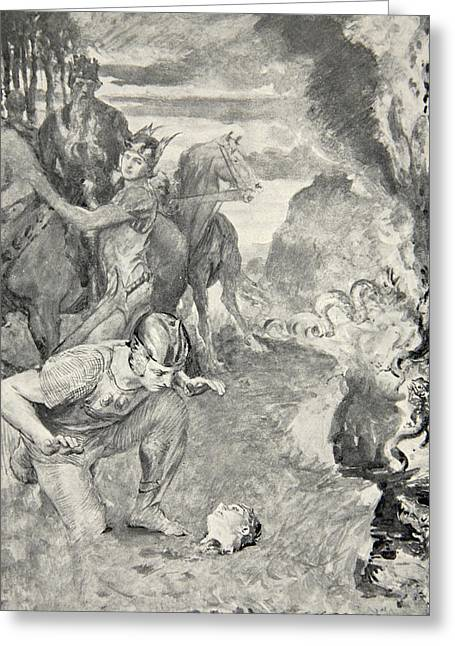 Frederick Drawings Greeting Cards - Beowulf finds the head of Aschere Greeting Card by John Henry Frederick Bacon