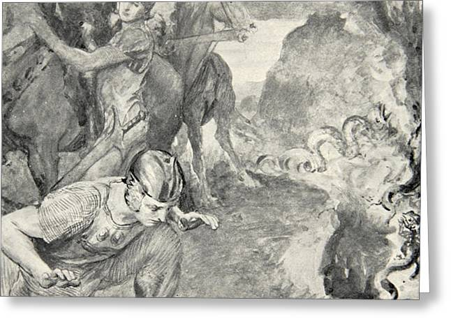 Beowulf finds the head of Aschere Greeting Card by John Henry Frederick Bacon