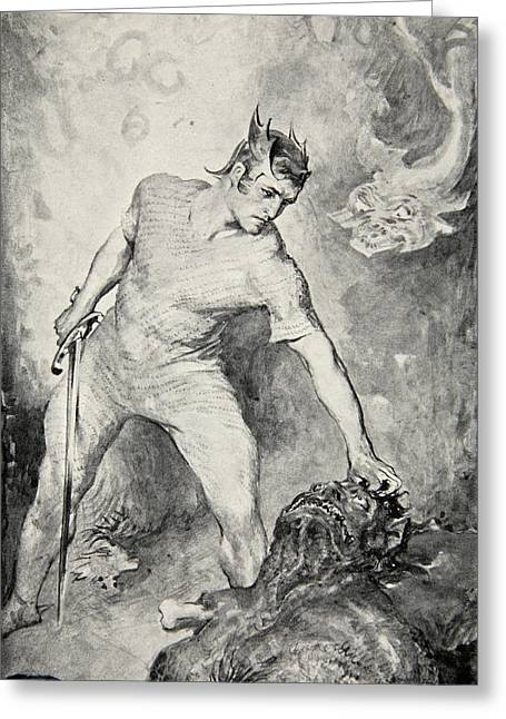 Frederick Drawings Greeting Cards - Beowulf shears off the head of Grendel Greeting Card by John Henry Frederick Bacon