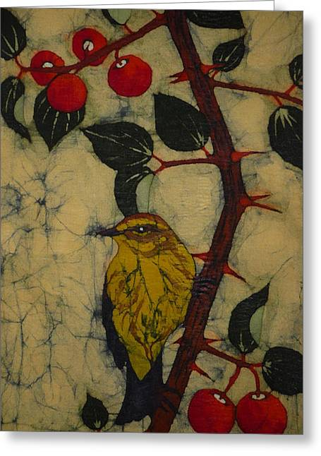 Berry Tapestries - Textiles Greeting Cards - Ber Branch Greeting Card by Shasha Shaikh