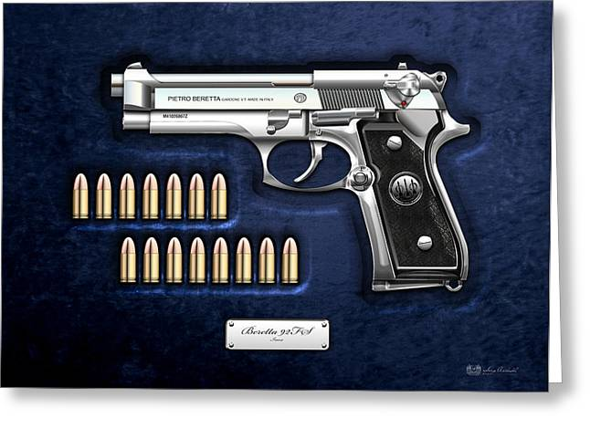 Stainless Steel Digital Art Greeting Cards - Beretta 92FS Inox with Ammo on Blue Velvet  Greeting Card by Serge Averbukh
