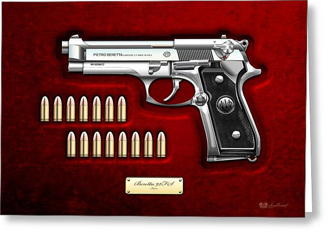 Stainless Steel Digital Art Greeting Cards - Beretta 92FS Inox with Ammo on Red Velvet  Greeting Card by Serge Averbukh