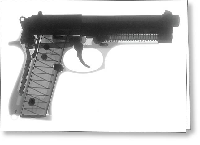 Guns Photographs Greeting Cards - Beretta 9mm X-Ray Photograph Greeting Card by Ray Gunz