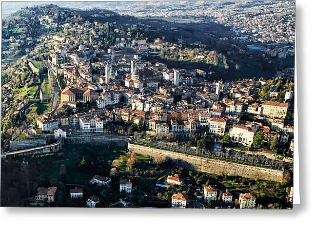 Citta Alta Greeting Cards - Bergamo aerial view Greeting Card by Pietro Annoni