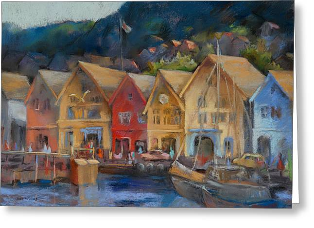 """sailing Ship"" Greeting Cards - Bergen Bryggen in the Early Morning Greeting Card by Joan  Jones"