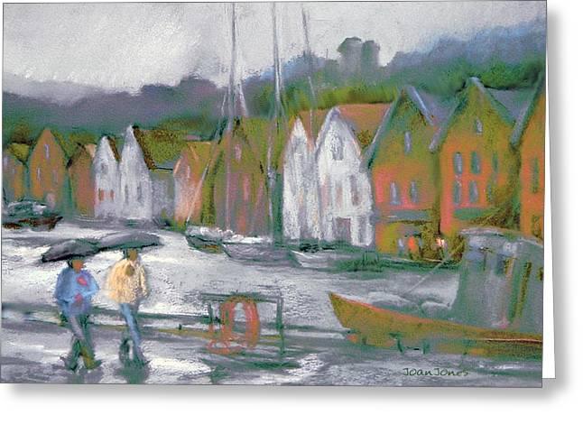 Bergen Bryggen in the Rain Greeting Card by Joan  Jones