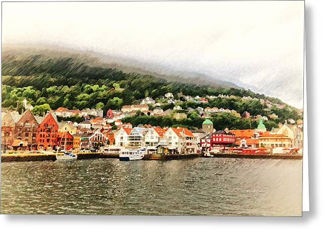 Fog At Sea Greeting Cards - Bergen Norway in the Fog at Night Greeting Card by Angela A Stanton