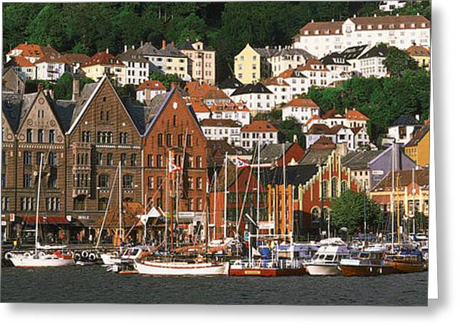 Docked Boat Greeting Cards - Bergen Norway Greeting Card by Panoramic Images