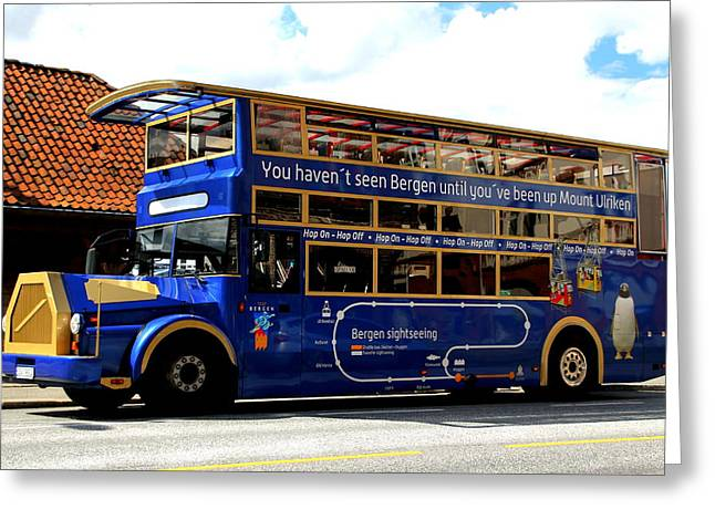 Hop On Hop Off Bus Greeting Cards - Bergens Blue Bus for Tourists Greeting Card by Laurel Talabere