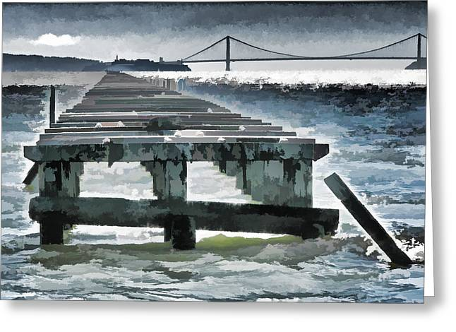 Berkeley Marina Pier Study 1 Greeting Card by Samuel Sheats