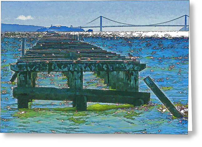 Berkeley Marina Pier Study 2 Greeting Card by Samuel Sheats