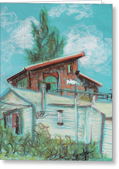 Residential Drawings Greeting Cards - Berkeley Neighbor Houses on a Sunny Day Greeting Card by Asha Carolyn Young