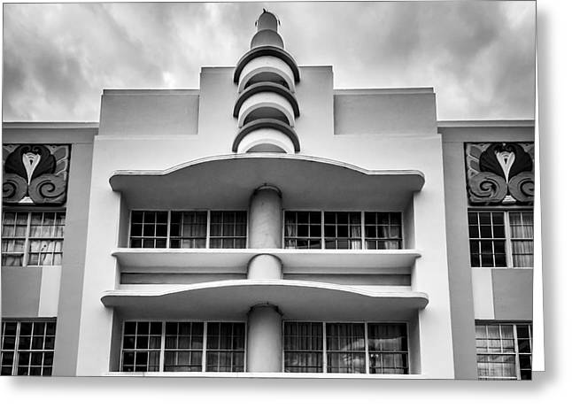 1930s Greeting Cards - Berkeley Shores Hotel  2 - South Beach - Miami - Florida - Black and White Greeting Card by Ian Monk