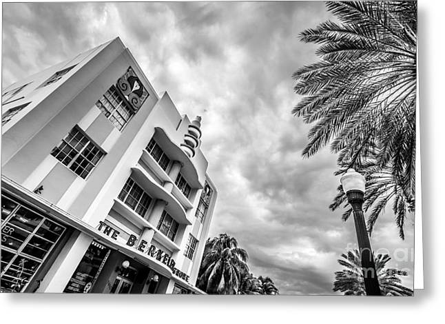 1930s Greeting Cards - Berkeley Shores Hotel  3 - South Beach - Miami - Florida - Black and White Greeting Card by Ian Monk