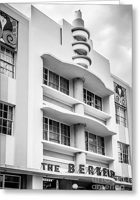2013 Greeting Cards - Berkeley Shores Hotel - South Beach - Miami - Florida - Black and White Greeting Card by Ian Monk