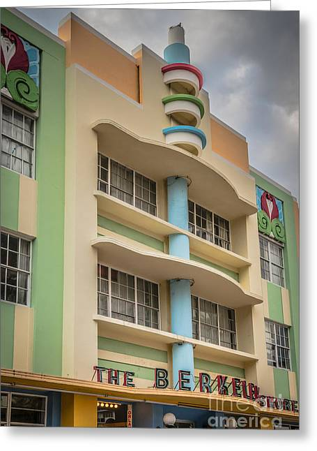 1930s Greeting Cards - Berkeley Shores Hotel - South Beach - Miami - Florida - HDR Styl Greeting Card by Ian Monk
