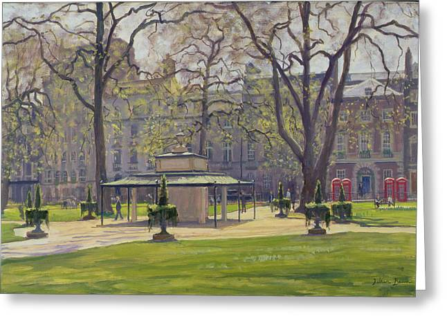 Plane Trees Greeting Cards - Berkeley Square, London Oil On Canvas Greeting Card by Julian Barrow