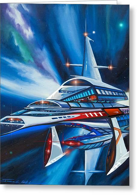 Starship Paintings Greeting Cards - Berkey IV Starship Greeting Card by James Christopher Hill