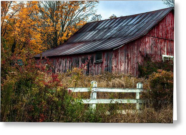 Outbuildings Greeting Cards - Berkshire Autumn - Old Barn Series   Greeting Card by Thomas Schoeller