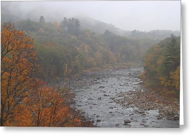 Shelburne Greeting Cards - Berkshires Mohawk Trail Deerfield River Autumn Fog Greeting Card by John Burk