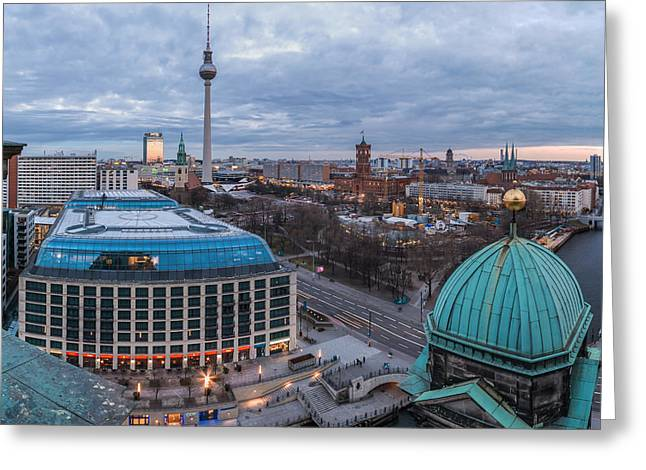 Berlin Germany Pyrography Greeting Cards - Berlin - Potsdamer Platz Blue Hour Greeting Card by Jean Claude Castor