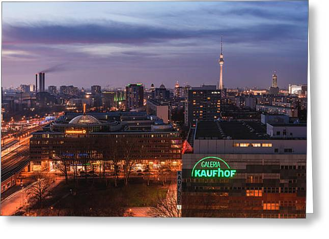 Berlin Germany Pyrography Greeting Cards - Berlin - Skyline Ostbahnhof Panorama Greeting Card by Jean Claude Castor