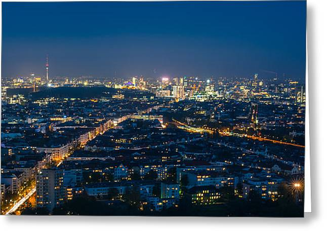 Berlin Germany Pyrography Greeting Cards - Berlin - Skyline Panorama Funkturm Greeting Card by Jean Claude Castor