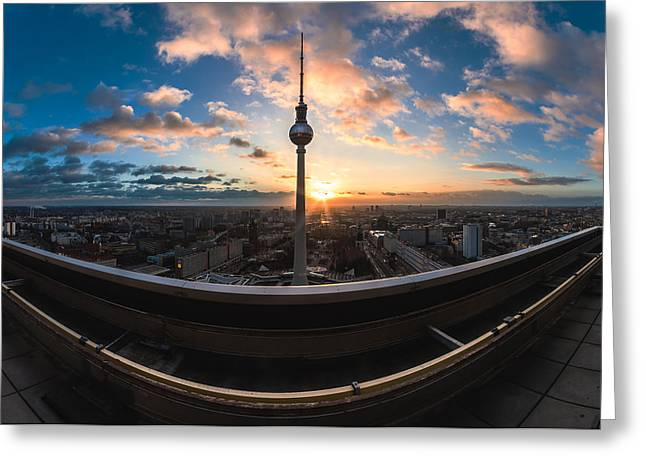 Berlin Germany Pyrography Greeting Cards - Berlin - TV Tower Skyline Panorama Greeting Card by Jean Claude Castor