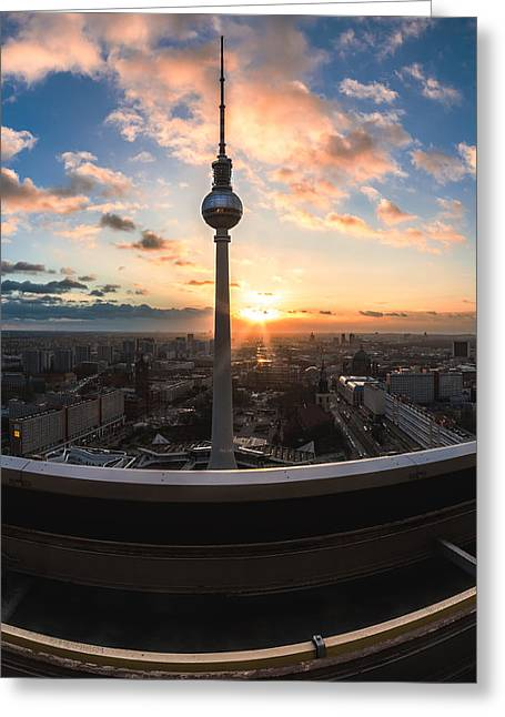 Berlin Germany Pyrography Greeting Cards - Berlin - TV Tower Sunset View Greeting Card by Jean Claude Castor