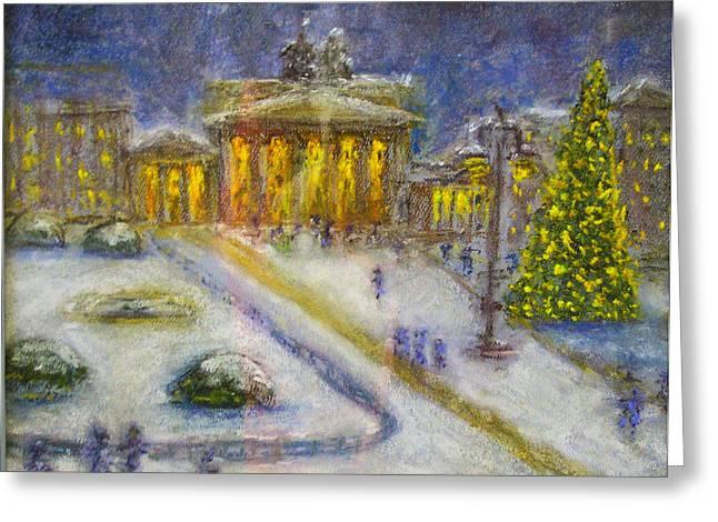 Berlin Pastels Greeting Cards - Berlin Brandenburg Gate in Winter Night Greeting Card by Barbara Anna Knauf