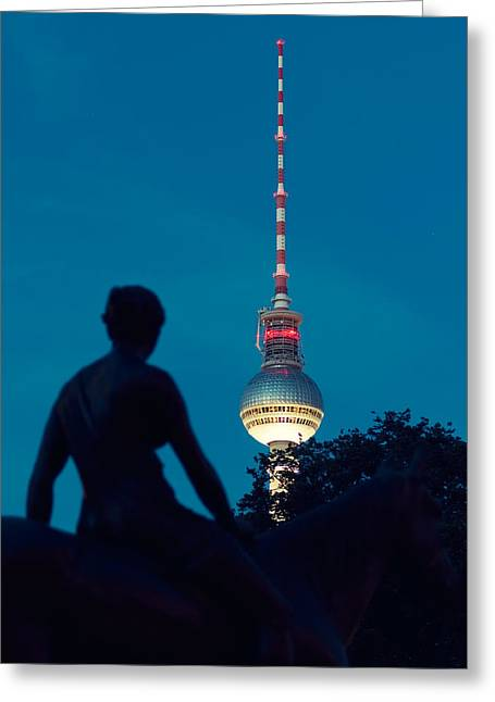 Berlin By Night - Tv Tower Greeting Card by Alexander Voss