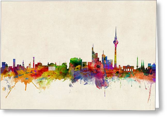 Urban Watercolour Greeting Cards - Berlin City Skyline Greeting Card by Michael Tompsett