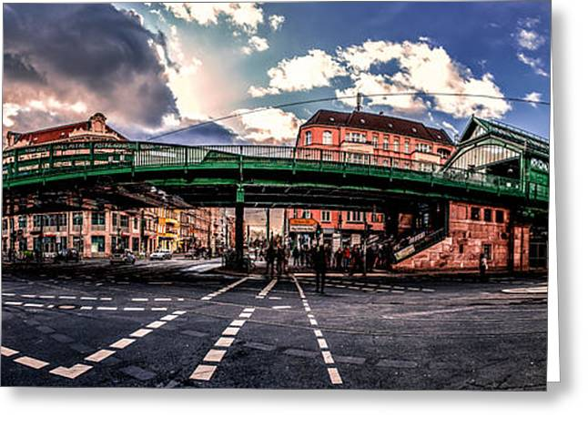 Dome Pyrography Greeting Cards - Berlin Eberswalder Street Panorama Greeting Card by Jean Claude Castor