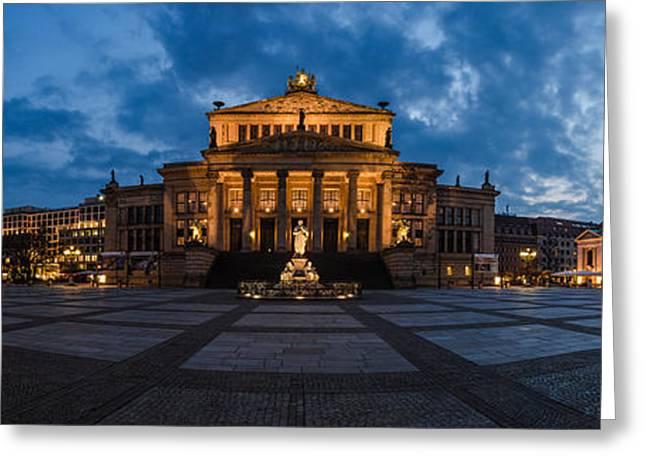 Berlin Germany Pyrography Greeting Cards - Berlin - Gendarmenmarkt Panorama Greeting Card by Jean Claude Castor