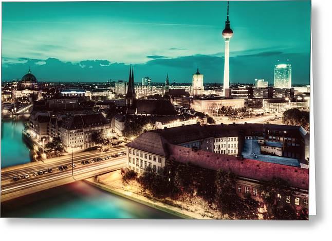 Deutschland Greeting Cards - Berlin Germany major landmarks at night Greeting Card by Michal Bednarek