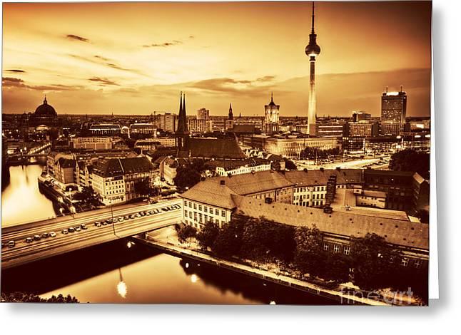 Deutschland Greeting Cards - Berlin Germany major landmarks at sunset in gold tone Greeting Card by Michal Bednarek