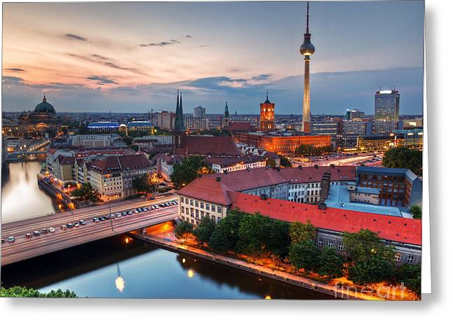 Television Tower Greeting Cards - Berlin Germany major landmarks at sunset Greeting Card by Michal Bednarek