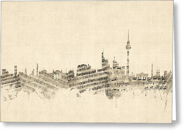 Berlin Germany Greeting Cards - Berlin Germany Skyline Sheet Music Cityscape Greeting Card by Michael Tompsett