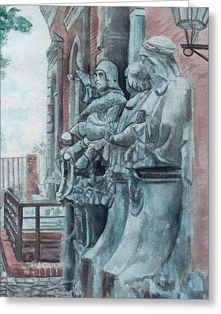 Berlin History Sculptures Greeting Card by Leisa Shannon Corbett