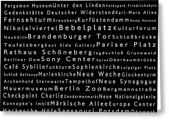 Checkpoint Greeting Cards - Berlin in Words Black Greeting Card by Sabine Jacobs