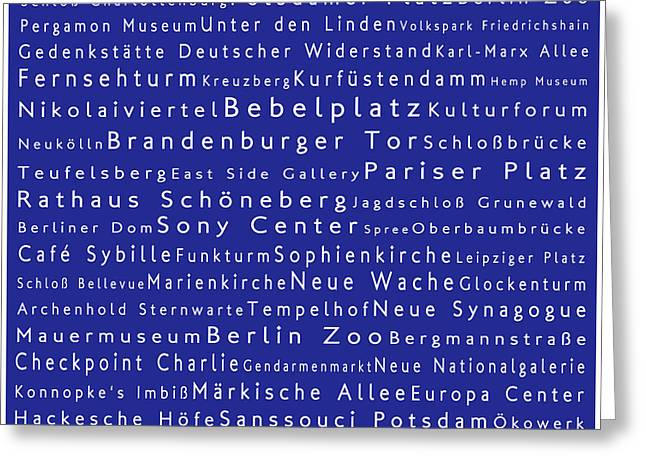 Bellevue Greeting Cards - Berlin in Words Blue Greeting Card by Sabine Jacobs