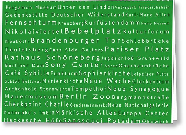 Checkpoint Greeting Cards - Berlin in Words Green Greeting Card by Sabine Jacobs