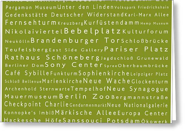Checkpoint Greeting Cards - Berlin in Words Olive Greeting Card by Sabine Jacobs