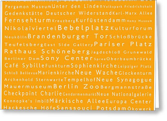 Bellevue Greeting Cards - Berlin in Words Orange Greeting Card by Sabine Jacobs