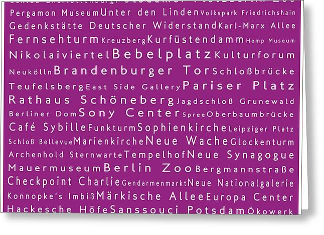 Checkpoint Greeting Cards - Berlin in Words Pink Greeting Card by Sabine Jacobs