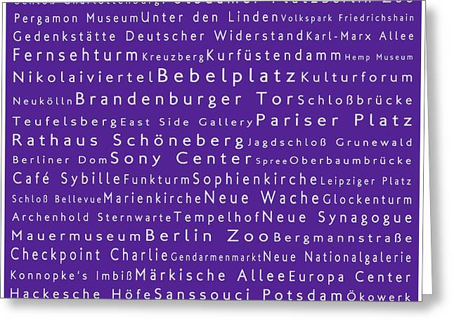 Bellevue Greeting Cards - Berlin in Words Purple Greeting Card by Sabine Jacobs