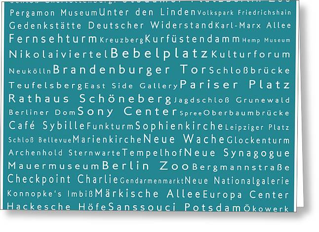 Checkpoint Greeting Cards - Berlin in Words Teal Greeting Card by Sabine Jacobs