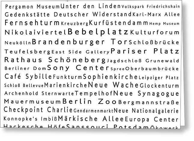 Checkpoint Greeting Cards - Berlin in Words White Greeting Card by Sabine Jacobs